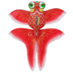 Hand-Crafted Red Silk Gold Fish Kite